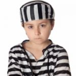 Sad child with prisoner costume isolated on white background