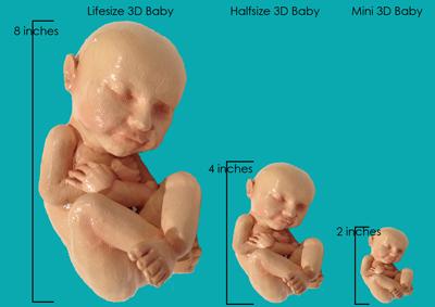 Du kan få babyen i reell størrelse, halv og mini. Foto: Med tillatelse av produsent