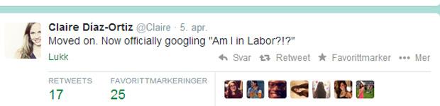 """Da har jeg gått videre. Nå googler jeg offisielt """"Er jeg i fødsel""""?!? Tweetene merkes med #labor."""