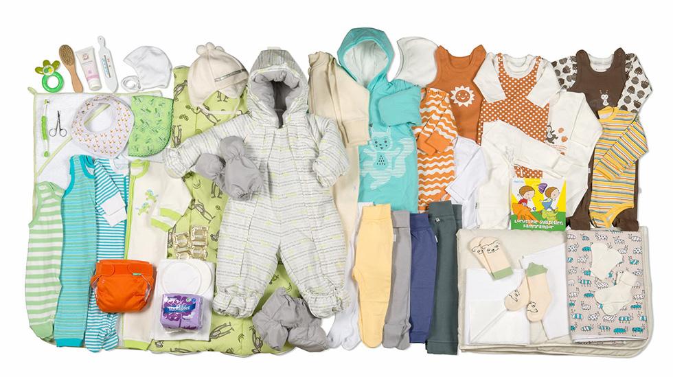 Innholdet i mammapakken anno mars 2014. Alle foto: Annika Söderblom © Gjengitt med tillatelse av kela.fi