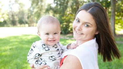 Michelle og sønnen Lennox