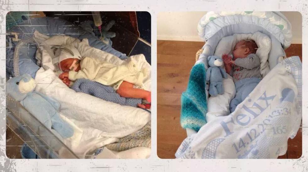 En liten som har vokst masse på 15 uker! Legg merke til bamsen - det er samme bamse på begge bildene! Alle foto: privat