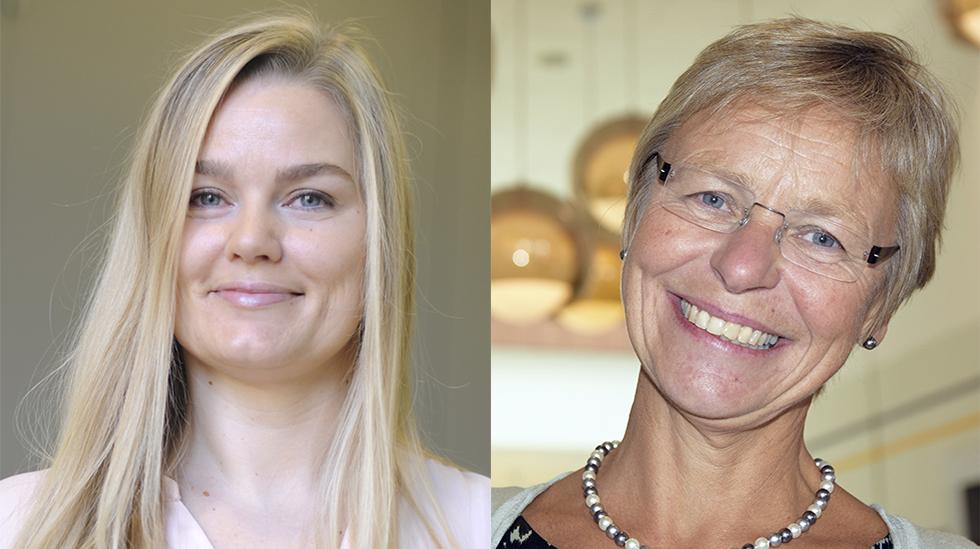 Hanne Charlotte Schjelderup-Eriksen i Jordmorforbundet (til venstre) og leder av Den norske jordmorforening, Kirsten Jørgensen (til høyre). Foto: Jordmorforbundet og Den norske jordmorforening
