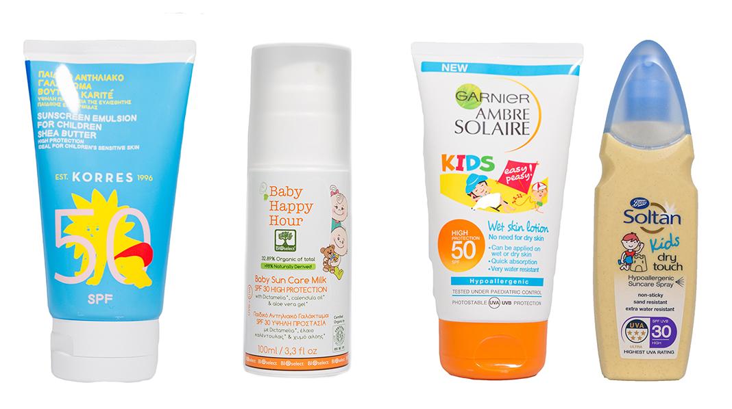 Har du en av disse solkremene til barnet ditt, bør du kaste den. Dette er taperne i Forbrukerrådets solkremtest, og kan være skadelige for barn. Foto: Forbrukerrådet