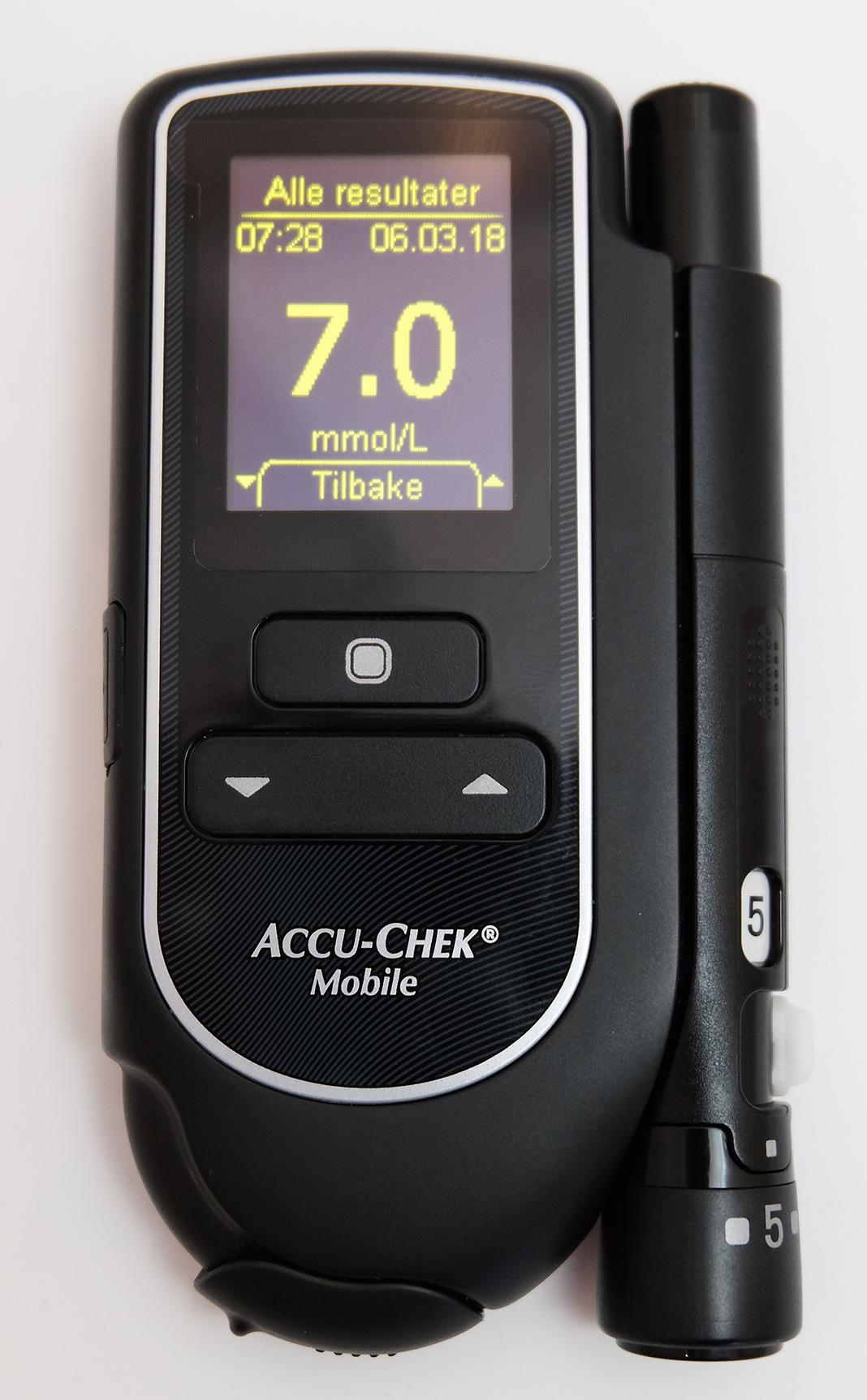 Blodsukkerapparat med resultat