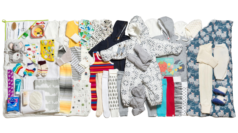 Her er alle de 64 tingene som er i mammapakken 2018. Alle bilder gjengitt med tillatelse av Kela.