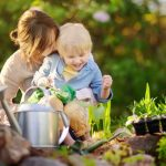 beautiful-young-woman-and-her-cute-son-planting-seedlings-in-bed-in-picture-id923089378