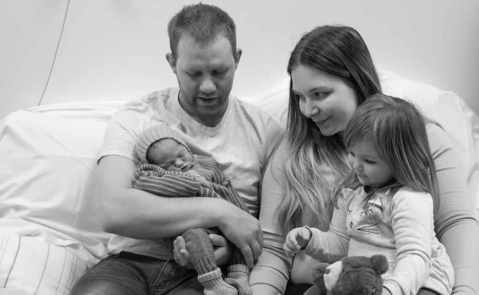 Hele familien samlet. Foto: Trine-Lise Henriksen