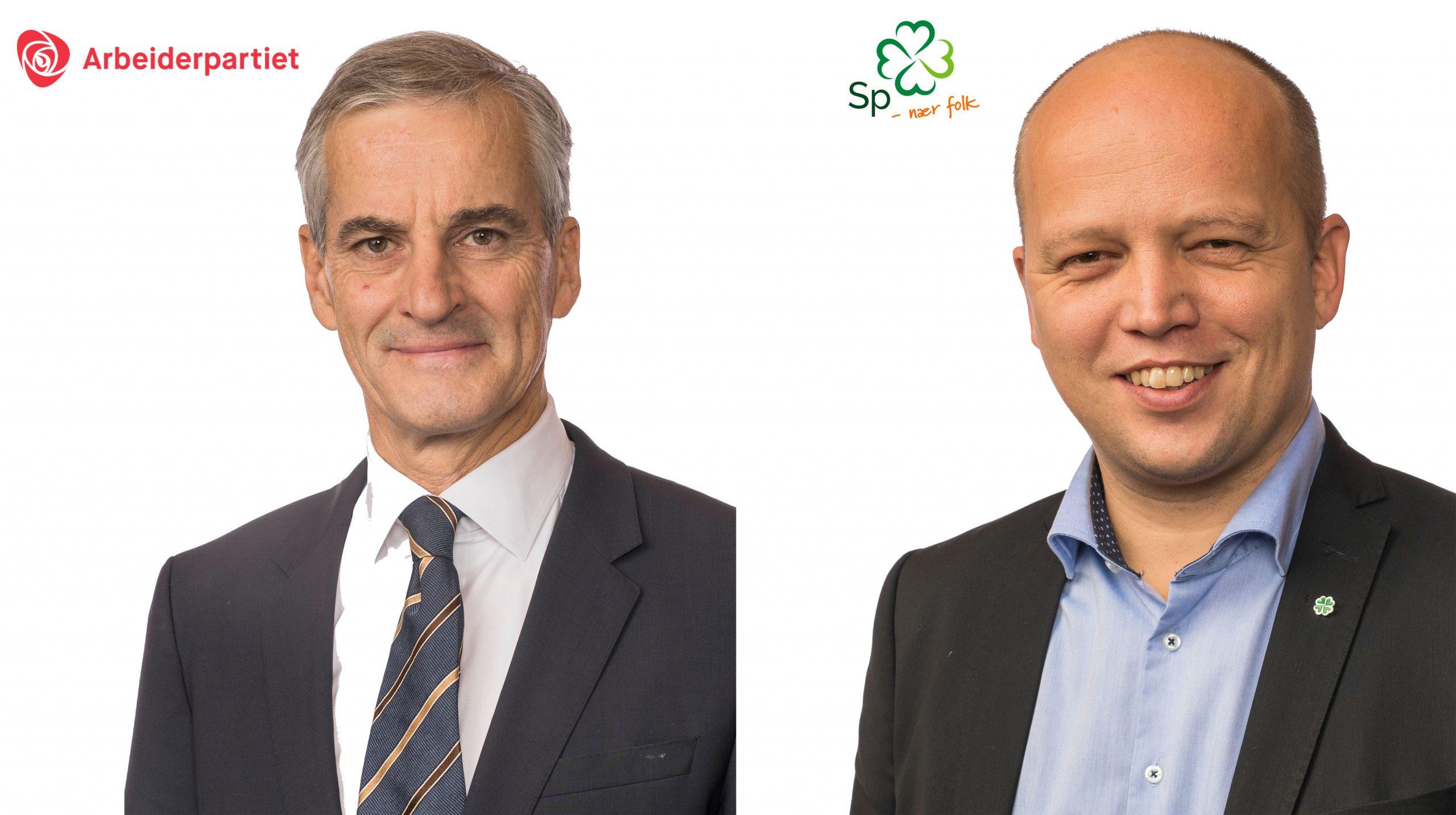 Jonas Gahr Støre (Ap) og Trygve Slagsvold Vedum (Sp) har blitt enige om en politikk for den nye regjeringen. Portretter: stortinget.no